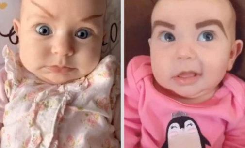 Американка на карантине разрисовывает брови своей двухмесячной дочери